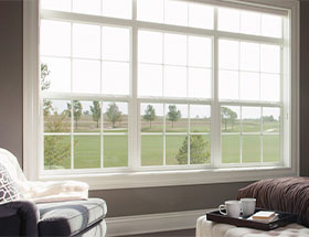 Living Room with View of Backyard Grass with Cheap Replacement Windows, Vinyl Replacement Windows, and Double Hung Windows in Austin, Texas